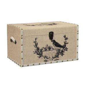 COFFRE - MALLE Boîte Coffret Malle Coffre en Bois et Toile de Jut
