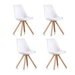 CHAISE Lot de 4 chaises blanches - Helsinki