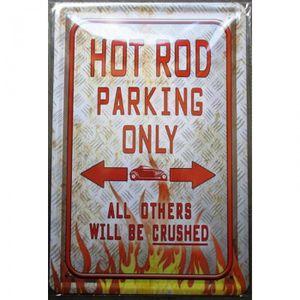OBJET DÉCORATION MURALE plaque hot rod parking only tole deco garage pub m
