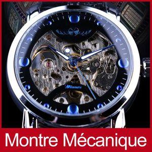MONTRE Squelette Designer Bleu Hommes Bracelet En Cuir Mo
