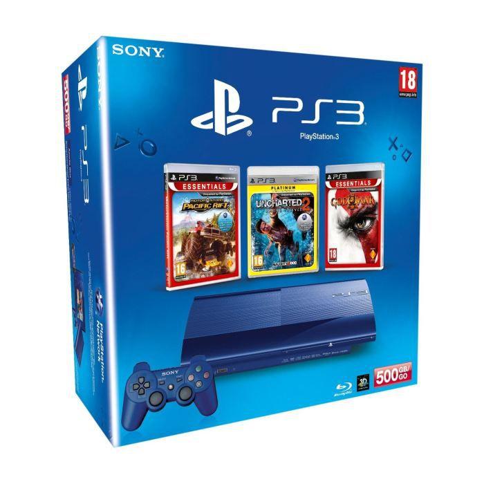 CONSOLE PS3 PS3 500GoBlu+MotorStorm PR+Uncharted 2+GOW 3