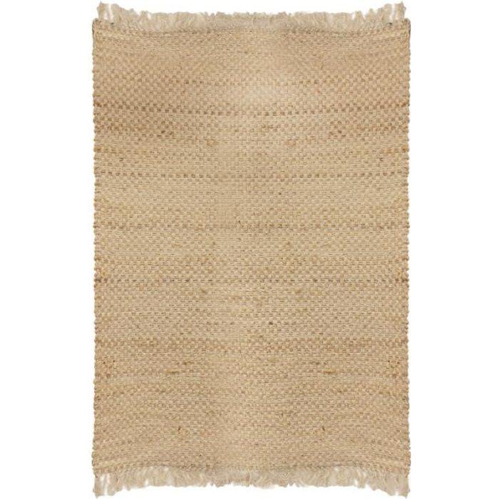 Tapis naturel jute à franges - 120 x 170 cm