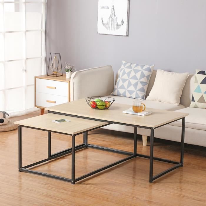 Lot de 2 tables basses gigognes 100-113 design industriel