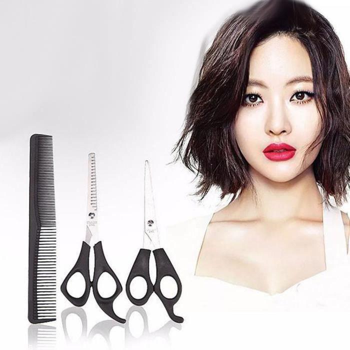 【Ciseaux de coiffeur】Coupe de cheveux Ensemble de 3 pièces Cisaille à dents Cisaillement plat Double tête Peigne en fibre de