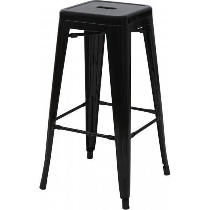 Tabouret de bar HWC-A73, chaise de comptoir, metal, empilable, design industriel noir