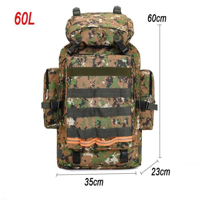 Jungle 60L 3*5 M -Sac à dos militaire tactique pour homme, accessoire de Camping, grande taille, idéal pour les voyages, les randonn