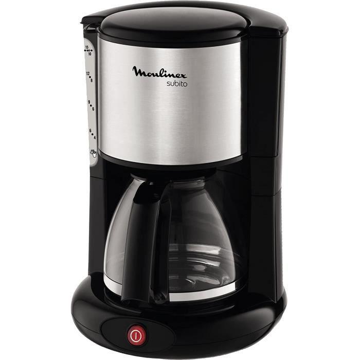 MOULINEX Cafetières filtre SUBITO inox 10/15 Tasses Machine à café cafetière électrique Cafetière Capacité 1.25L Antigoutte Porte-