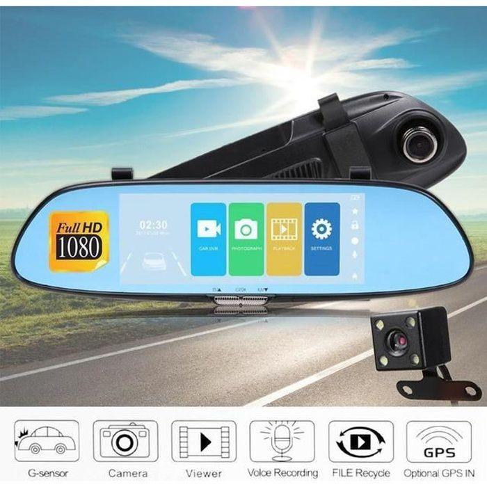 7 pouces Voiture DVR Double Objectif Voiture Caméra DVR Vue Arrière Caméra Miroir Écran Tactile Dash Cam Nuit Vision DashCam Enregis