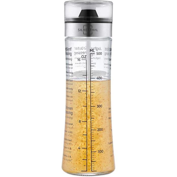 SILBERTHAL Shaker Vinaigrette En Verre Gradu&eacute 500 Ml Avec 4 Recettes Et Couvercle - Bouteille &Agrave Sauce Salade - M&e37