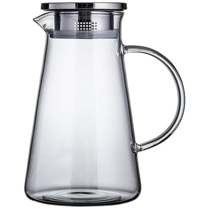 Carafe de 1,8 L-Litre, Carafe d'eau avec Couvercle et Bec verseur, Verre borosilicaté - 100% sans BPA, Carafe d'eau pour thé glacé F