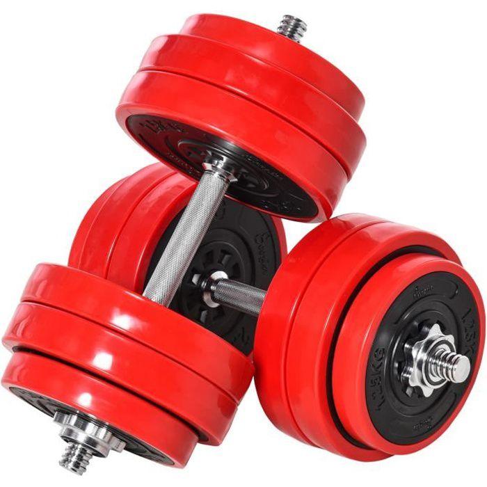 Ensemble d'haltères total 30 kg - 2 en 1 haltères courte-longue avec barre d'extension - entraînement musculaire & haltérophilie
