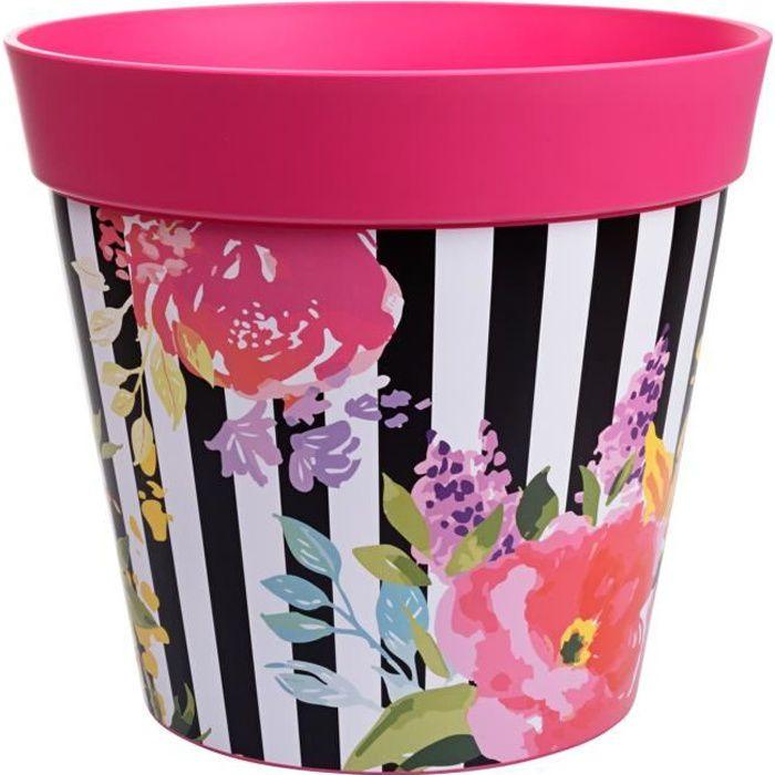 Hum Flowerpots Grand Pot De Fleurs Colorés D'intérieur/Extérieur Rayures Roses