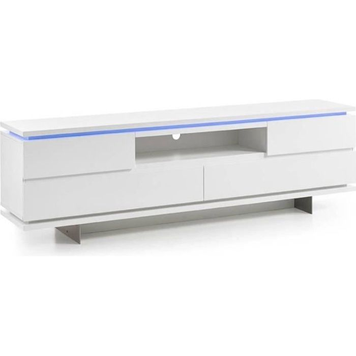 Meuble TV BALE laqué blanc mat 4 tiroirs 1 niche LED inclus blanc MDF Inside75