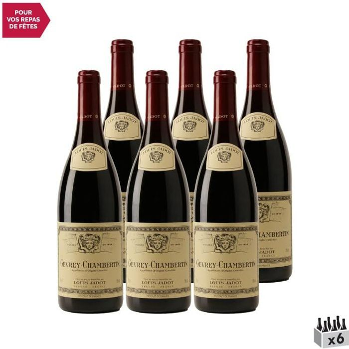 Gevrey-Chambertin Rouge 2015 - Lot de 6x75cl - Louis Jadot - Vin AOC Rouge de Bourgogne - Cépage Pinot Noir