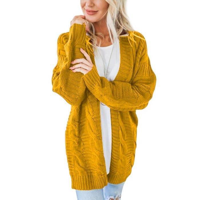 Gilet Mi-Longue Cardigan Tricot de nervure Femme Chandail Couleur unie Gilet Femme Automne