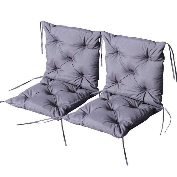 Lot de 2 coussins matelas assise dossier 2 en 1 pour chaise fauteuil grand confort 98L x 50l x 8H cm gris 38 98x50x8cm Gris