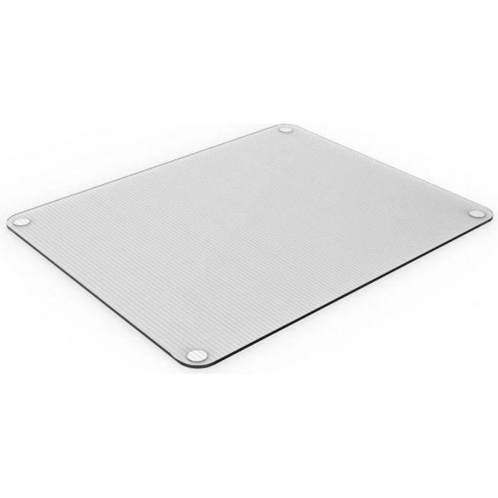 Planche à découper et de service en verre trempé rectangulaire transparent-40x50cm
