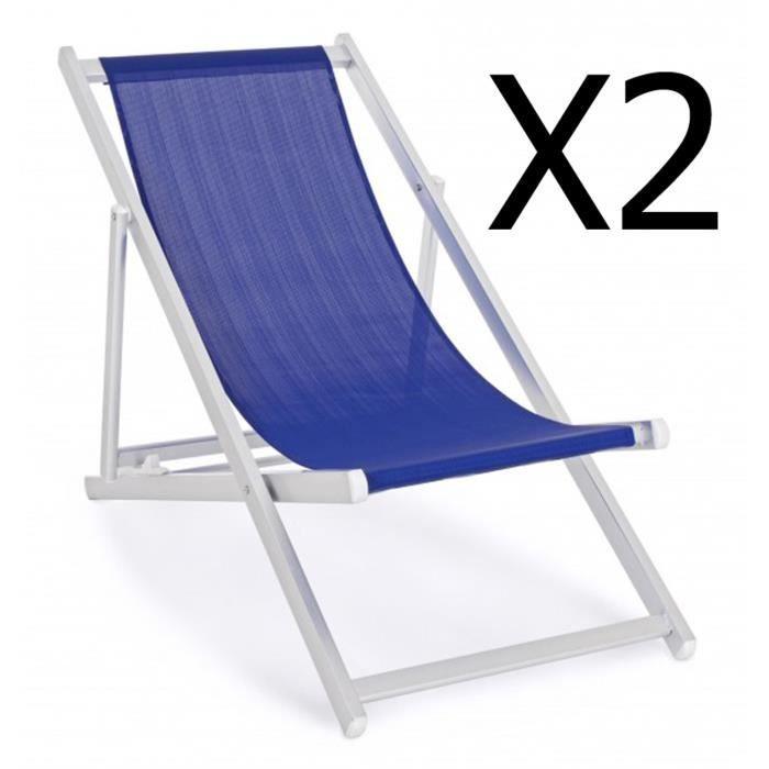 Lot de 2 chiliennes en aluminium coloris bleu - Dim : L 57 x P 80 x H 106 cm