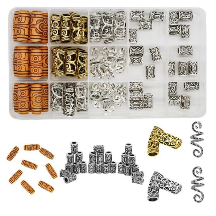 75pcs tressage perles Viking barbe Antique tatouages - bijoux de corps - bijoux de maquillage visage - corps