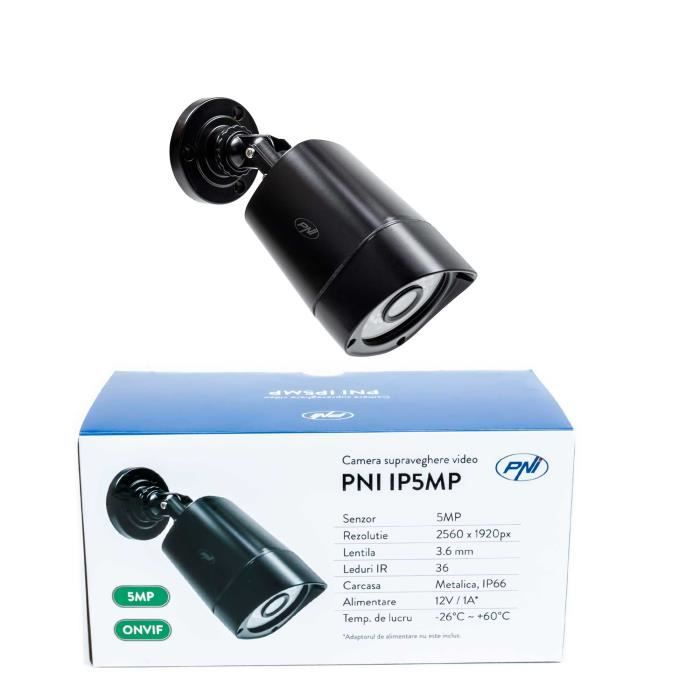 Caméra de vidéosurveillance PNI IP5MP avec IP, 5MP, H.265, ONVIF, IP66 extérieur