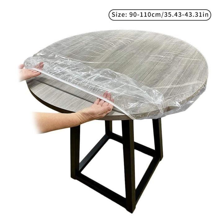 Nappes rondes en vinyle avec élastique pour tables rondes (-90-110- cm, claire) Taille devrait inclure des mesures de bords de table