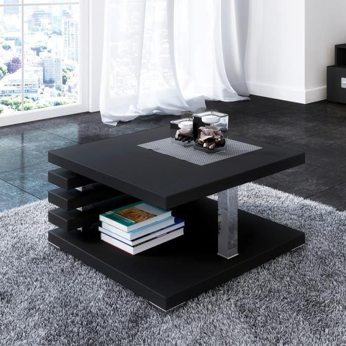 Table basse design - ARIENE - 60x60 cm - noir mat - étagère pratique sous le plateau