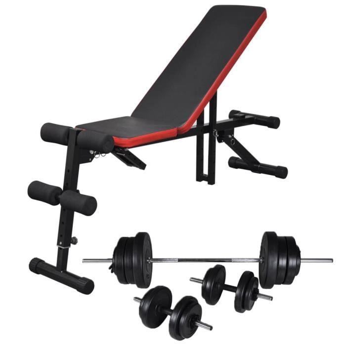 Banc d'entraînement réglable avec jeu d'haltères 60,5 kg - Noir - Machines d'haltérophilie - supports pour barres - Noir - Noir