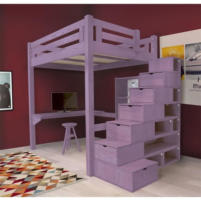 lit mezzanine alpage bois escalier cube hauteur r glable teint violet pastel 160x200. Black Bedroom Furniture Sets. Home Design Ideas