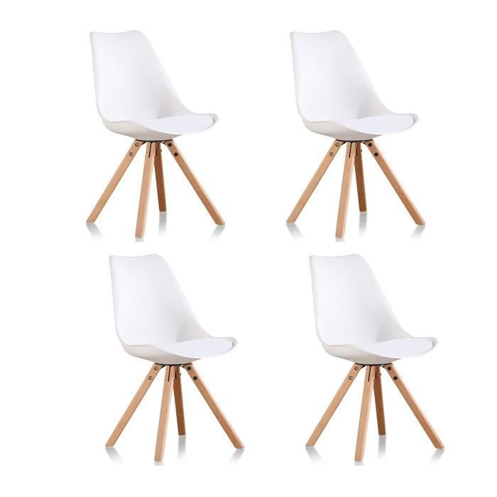 lot de 4 chaises blanches helsinki achat vente chaise blanc pp plastique renforc. Black Bedroom Furniture Sets. Home Design Ideas