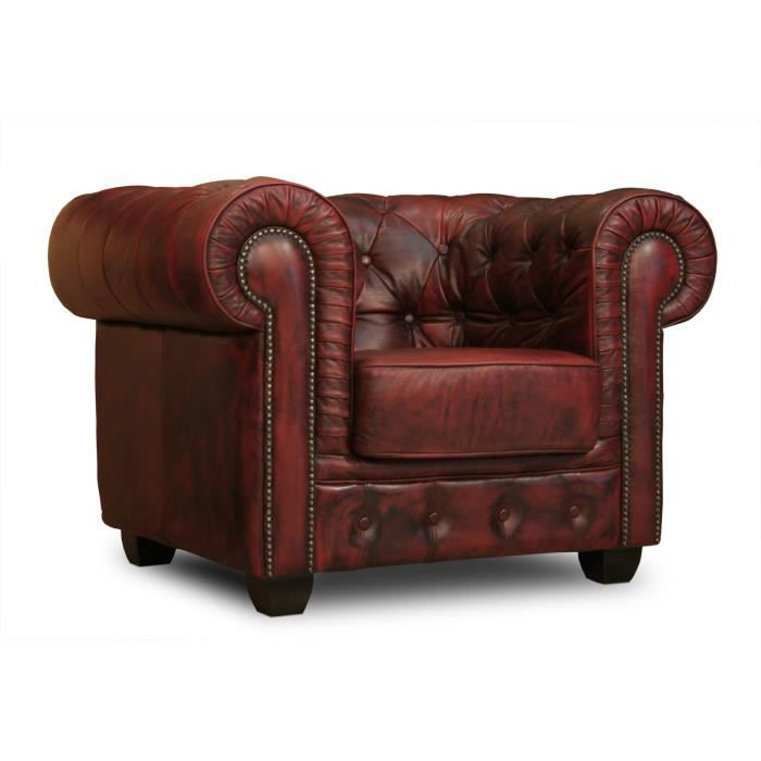 Fauteuil chesterfield en cuir v ritable rouge massivum achat vente fauteu - Fauteuil cuir chesterfield ...