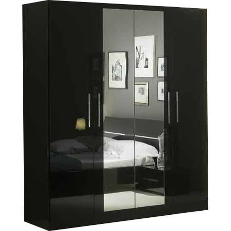 armoire 180x210 cm 4 portes dont 2 centrales avec miroir. Black Bedroom Furniture Sets. Home Design Ideas