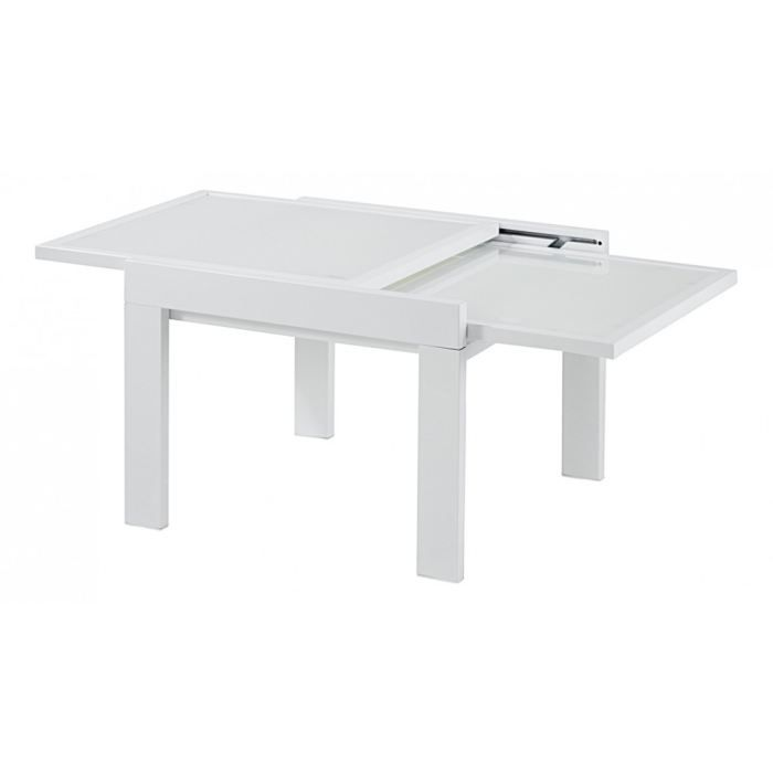 Table basse carr e blanche 60cm extension 60c achat for Table basse blanche design