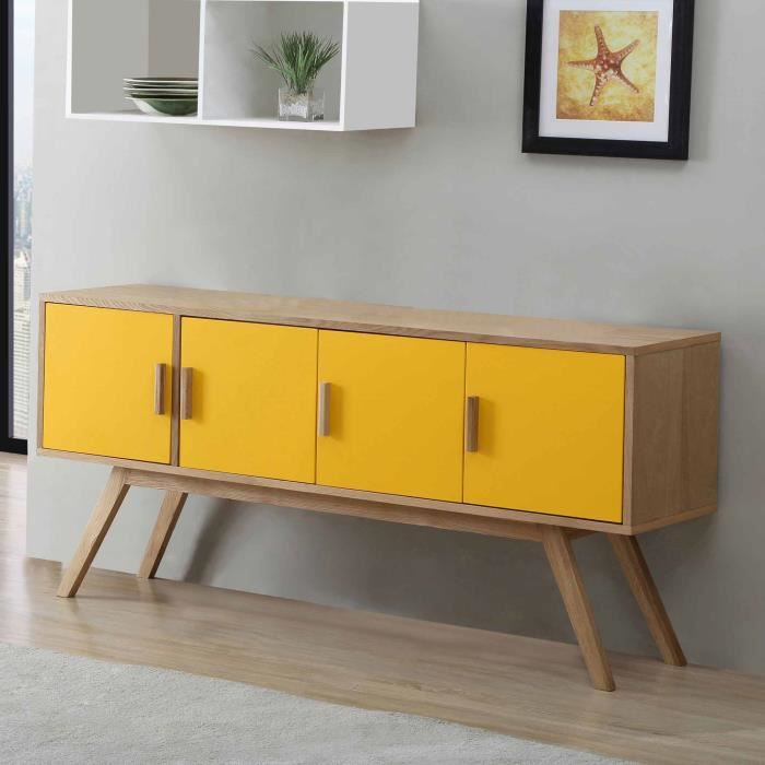 buffet en bois largeur 160cm avec 4 portes vintage jaune achat vente buffet bahut buffet. Black Bedroom Furniture Sets. Home Design Ideas