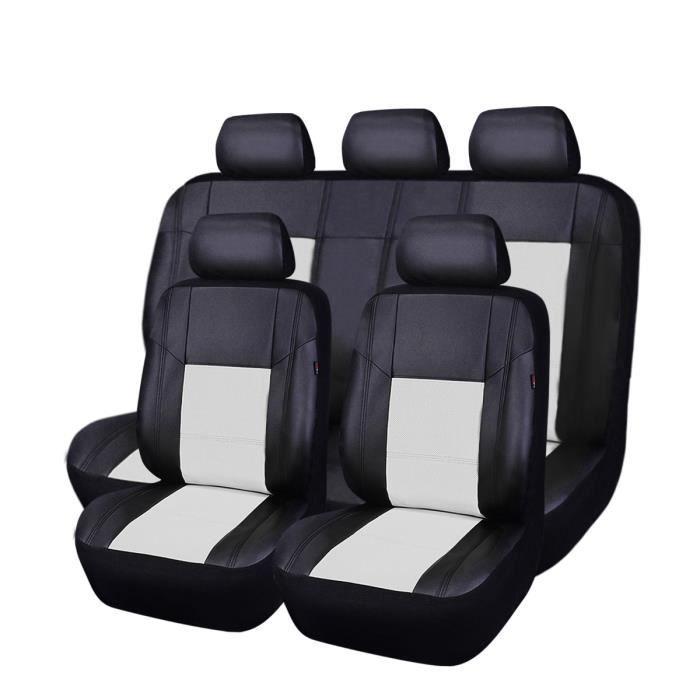 Car PASS Housse de si/ège de voiture en cuir et maille universelle compatible avec les airbags 6 PC, noir et violet trous douverture r/éserv/és pour housses dappuie-t/ête