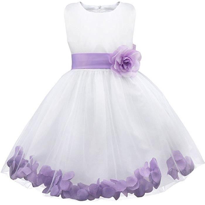 Waiwaizui Enfant Petite Filles Robe Demoiselle D Honneur Robe De Bapteme Ceremonie Petales Noeud Papillons Violet Achat Vente Robe De Ceremonie Cdiscount