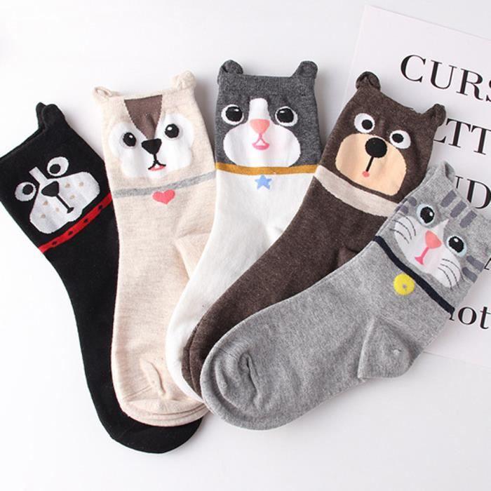 5 Pack Dans Un Coffret Cadeau Taille 36-40 CityComfort Chaussette Fantaisie Femme Homme en Coton Motif Chat Licorne Animaux