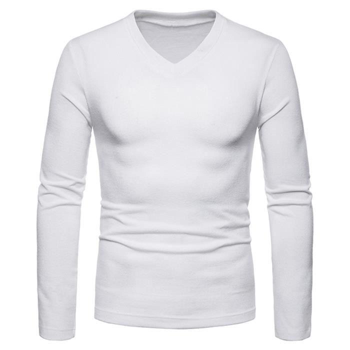 france pas cher vente outlet sur des pieds à T-shirt homme manche longue col en V Mode mince de coton Blanc