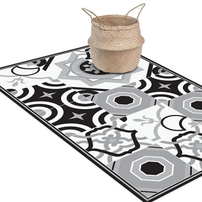 tapis vinyl carreaux de ciment achat vente tapis vinyl carreaux de ciment pas cher cdiscount. Black Bedroom Furniture Sets. Home Design Ideas