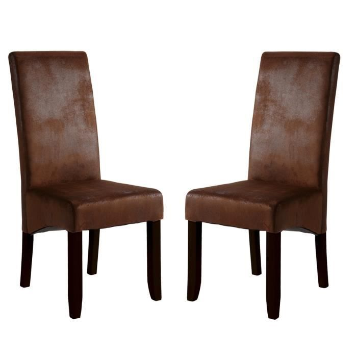 lot de 2 chaises sagua marron achat vente chaise. Black Bedroom Furniture Sets. Home Design Ideas