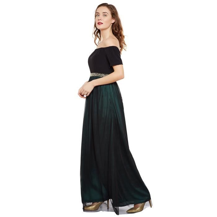 Martini Womens Black Emerald Green Off Shoulder Satin Mesh Gown SXA8P Taille-38