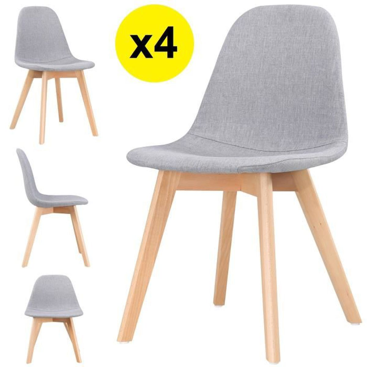 lot de 4 chaises scandinaves tissu gris clair skagen style scandinave la tendance ultime. Black Bedroom Furniture Sets. Home Design Ideas