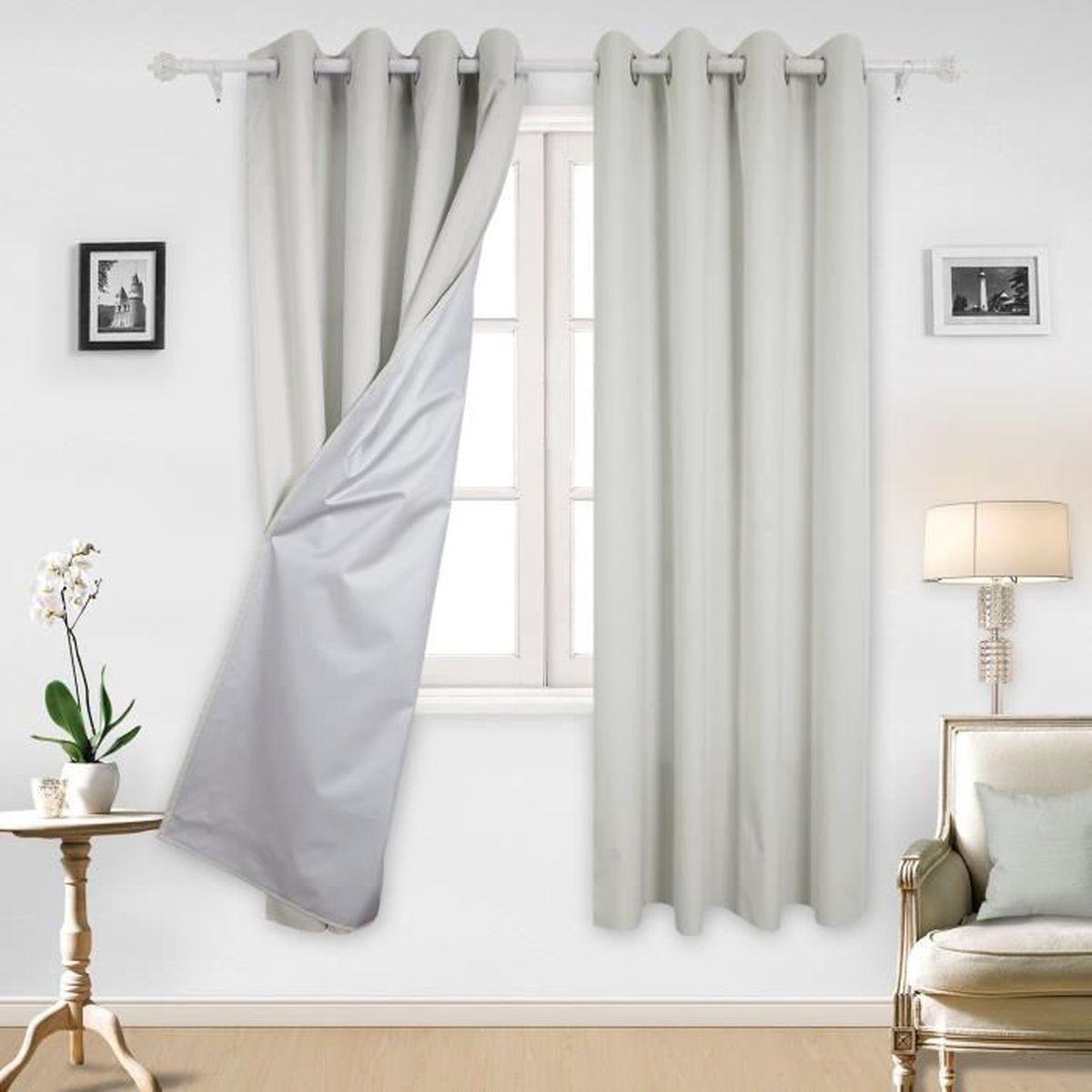 Rideaux Design Pour Chambre deconovo lot de 2 rideaux de porte avec revêtement argenté