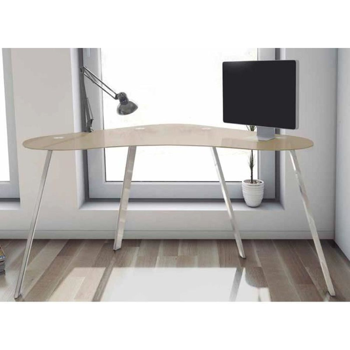 table de bureau en verre coloris taupe brillant dim 120 x 60 x 75 cm achat vente table. Black Bedroom Furniture Sets. Home Design Ideas
