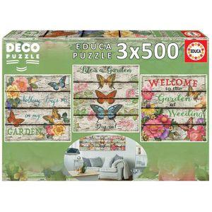 PUZZLE EDUCA Borrás - 3x500 pièces puzzle jardin à la cam