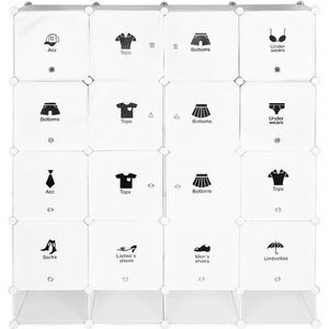 ARMOIRE DE CHAMBRE 16-Cube, Armoire Penderie Portable Storage Modulab