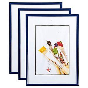 CADRE PHOTO Lot de 3 Cadres Photo 15x21 cm (Bleu) - Cadre Phot