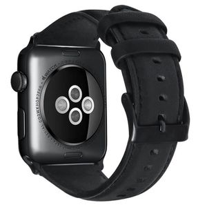 BRACELET DE MONTRE Bracelet pour Apple Watch en cuir 42MM Noir
