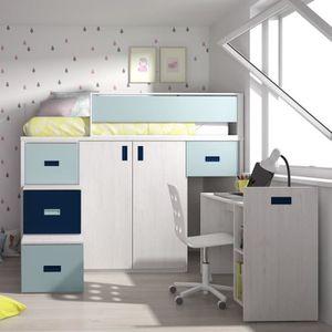 ARMOIRE DE CHAMBRE Lit mezzanine avec bureau amovible et armoire - 16