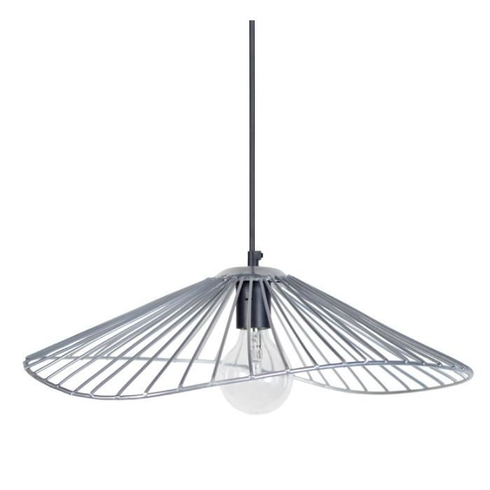 Lady lustre suspension filaire 50x44x13 cm grise e27 40w for Lustre ou suspension