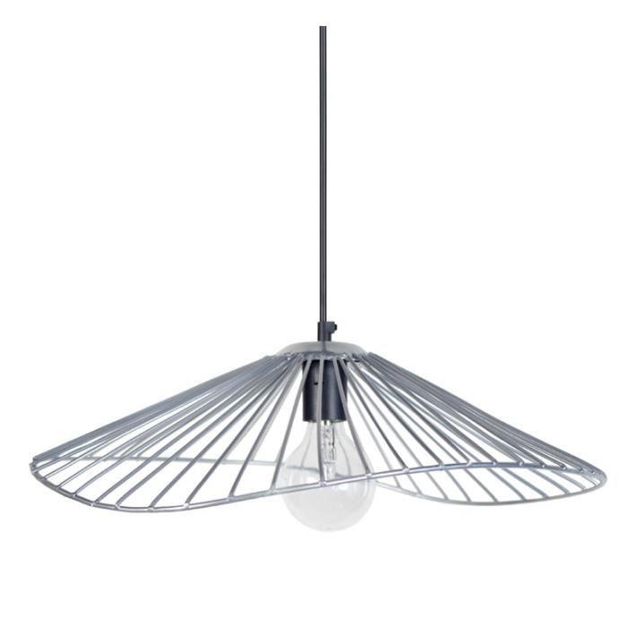 LUSTRE ET SUSPENSION LADY Lustre - suspension filaire 50x44x13 cm grise